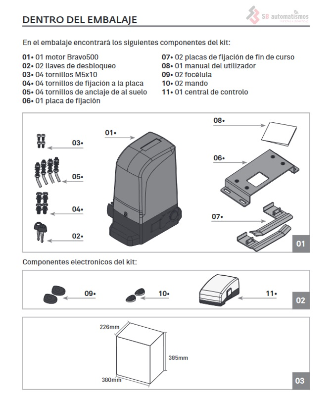 Bravo500 contenido del kit